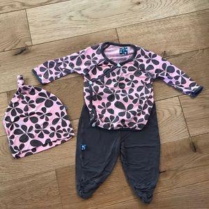 Baby KicKee Pants set shirt, pants, hat 0-3 mo